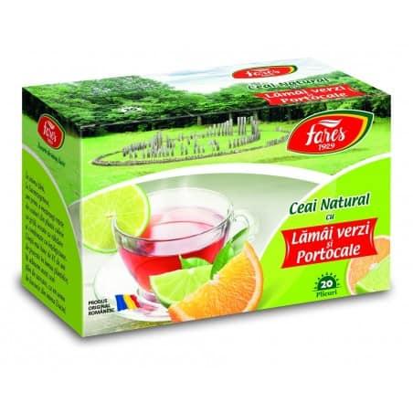 Ceai Cu Lamai Verzi Si Portocale, 20 pliculete FARES