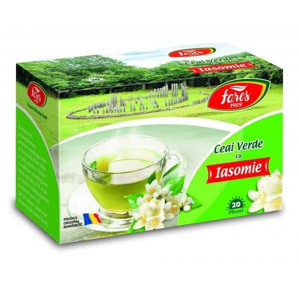 Ceai Verde Cu Iasomie, 20 pliculete FARES