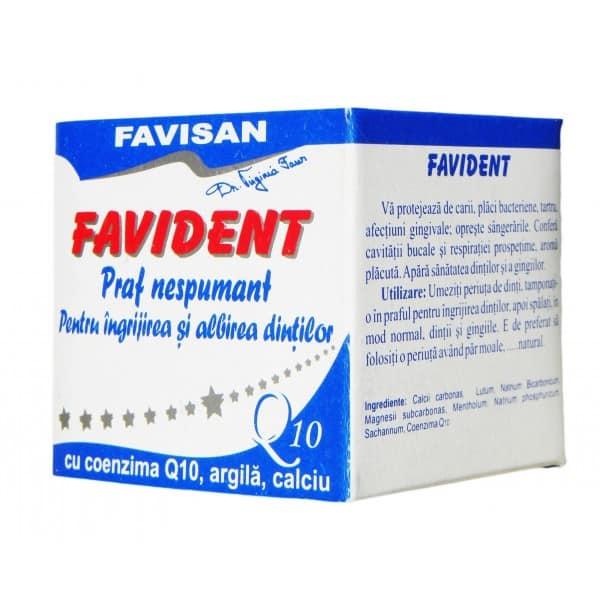 Favident Q10 - Praf Nespumant Pentru Ingrijirea Si Albirea Dintilor Cu Coenzima Q10 50ml FAVISAN