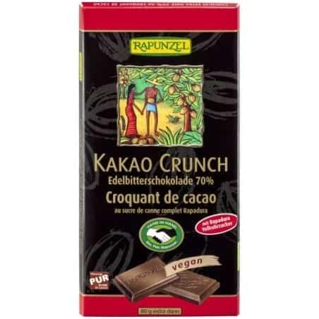 Ciocolata Neagra Crocanta Vegana 80g Rapunzel