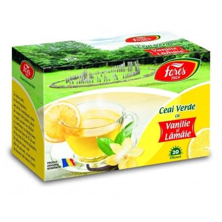 Ceai Verde Cu Lamaie Si Vanilie, 20 pliculete FARES